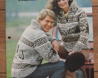 Vintage WHITE BUFFALO  knitting pattern Cowichan cardigan pullover bomber jacket men women