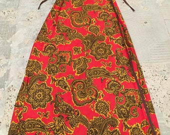 Paisley Wrap Skirt - Fall Skirt - Red Gold Brown Paisley - Lightweight for Fall - Casual Skirt - Paisley Pattern - Wrap Waist from 26 32