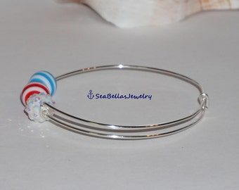 Red White Blue Stripes bangle adjustable bracelet silver plated, ready for 4th of July or patriotic holiday, theme parties, birthday, gift