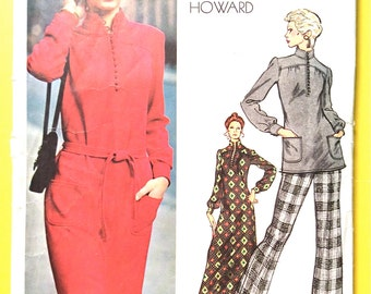 Early 70s Vogue 2767 Vogue Americana Chuck Howard Dress Tunic Pants Semi-fitted  straight-legged pants darted Vintage Sewing Pattern Bust 34