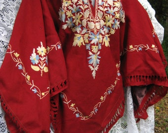 1 size fits many WOOLEN Embroidery to wear as poncho outerwear, knit sweater or mini dress