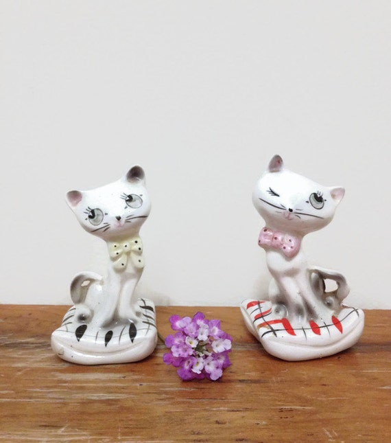 Vintage Cat Salt Amp Pepper Shaker Set Retro Kitchen Made In