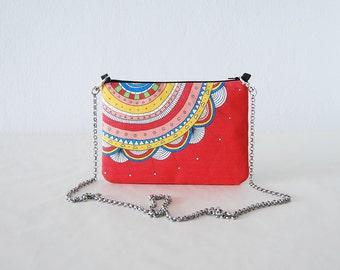 Red pouch colorful printed design clutch bag multicolor mini handbag small bag flower clutch bag design small bag cotton canvas chain bag