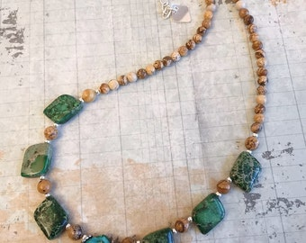 Green Sea Sediment Jasper Necklace Earrings Set