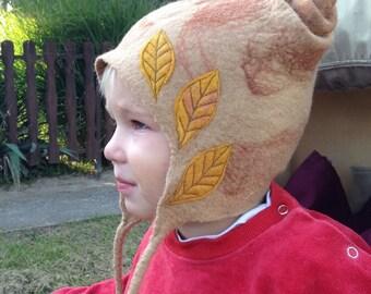 Merino wool baby hat . Felted Woodland fairy hat. Leafy hat.