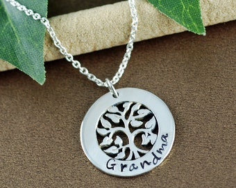 Family Tree Grandmother Necklace, Stamped Tree of Life Necklace, Tree of Life Jewelry, Grandma Necklace, Grandma Gift, Gift for Grandma