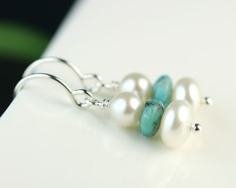 Tiny pearl drop earrings with turquoise, sterling silver, gift for her, gift under 25 USD, Free shipping Canada, by art4ear dangle earrings
