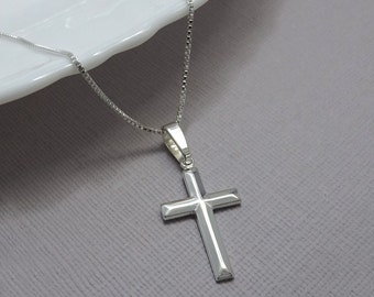 Cross Necklace, Sterling Silver Cross Necklace, Sterling Silver Cross, Baptism Gift, Sterling Silver Necklace, Confirmation Gift