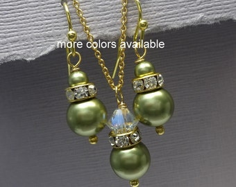 Light Green Bridesmaid Jewelry Set, Swarovski Light Green Pearl Necklace and Earrings Set, Swarovski Bridesmaid Jewelry Set, Bridesmaid Gift
