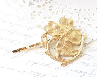 Golden Lucky Clover Hair Pin - Four Leaf Clover Bobby Pin - Big Four Leaf Clover Hair Pin - Clover Hair Accessory - Irish Motif