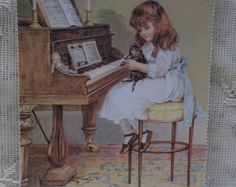 Pretty Girl at Piano with Tiger Kitty Cat & Doll - Vintage Inspired Postcard