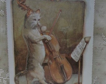 Standing Cat Playing Large Bass Violin - Vintage Inspired Postcard