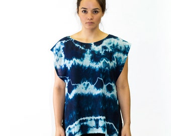 Turquoise Shibori Hand Dyed Open Side Top - A108