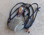 Beach stone, Boulder Opal necklace -  unique natural macrame jewelry on braided cord - wearable art handmade in Australia.