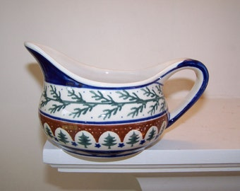 Boleslawiec Pottery, Gravy Boat, Polish Pottery, Chistmas Trees, Blue Green Brown, Hand Stamped, Woodland Pottery, Vintage, Evergreen Trees