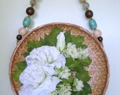 Boho Cottage Decor Floral Wall Hanging Flower Arrangement White Flower Basket Prairie Wildflowers