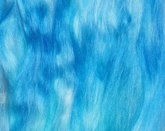 Combed Suri Alpaca Doll Hair 10-12 inches 0.4 of an ounce Light and Dark Aqua Blue Shades