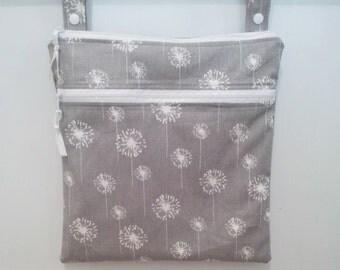 Gray Dandelion Waterproof bag,  cloth diaper bag, swimsuit bag, kitchen wet bag, nappy bag,