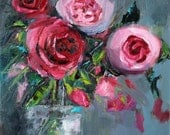Original Oil Painting, contemporary flowers, floral art, roses painting, palette knife, pink flowers, 10x10 inch