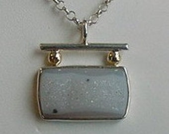 Large Natural White Drusy Sterling Silver and 14k Gold Pendant