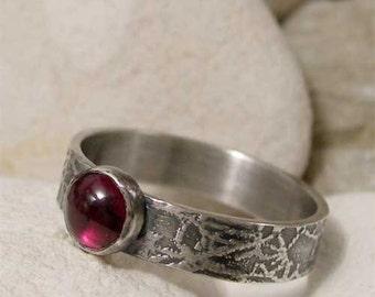 Sterling Silver Garnet Ring, Semiprecious Stone Ring, Red Gemstone Ring, Rustic Organic Ring Band, January Birthday Artisan Bohemian Jewelry