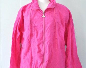 Vintage Windbreaker Magenta Pink red  Jacket Funky 90s Style Ladies LARGE