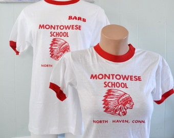 Vintage Tees TShirt Montowese School North Haven CT Super Soft Thin Connecticut Red White Ringer Youth Large Ladies SMALL XS