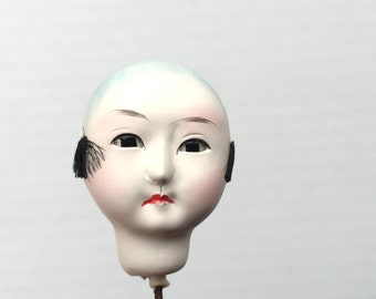 Japanese Doll Head - Vintage  Doll Head - Boy Doll Head - Man Doll Head - Monk #10 Small Size Bald