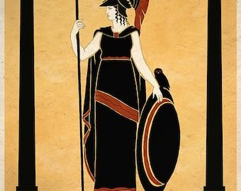 Ancient Goddess Athena Minerva Greek Roman Art Print Wall Decor