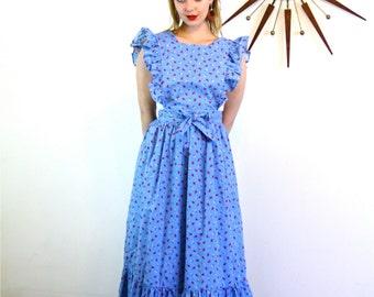 Vintage 70s Pinafore Apron Long Maxi Dress Coverup Ruffle Ladybug Daisy Print Blue Cotton Denim Bib Front Open Backless Hippie Prairie Smock