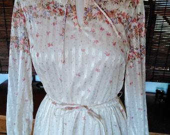 Vintage Cream Sheer Ribbon Floral Border Print Garden Party Midi Dress M Free Shipping
