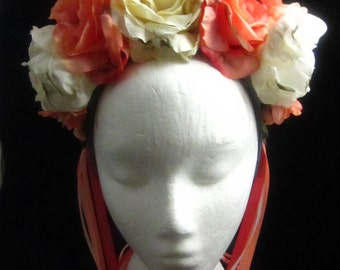 OOAK Apricot Dew Headdress for Day of the Dead/Wedding/Cospay