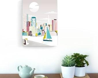 Boston Art Canvas Print, Boston Skyline Prints Poster Travel Poster, Home Wall Decor Framed Canvas Art, Nursery Office Art Style: BMC01
