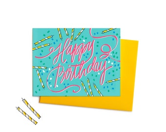 Birthday Cake Explosion Greeting Card, Vintage-Inspired Hand-Typography Birthday Card in Pink and Green