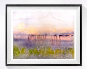 Abstract Landscape Art Watercolor print surreal valley Pink painting purple lavender Abstract artwork Modern wall art decor relaxed rhythm