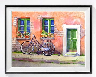 Watercolor Print Bicycle landscape watercolour painting Coral colored watercolor painting Window flower boxes Bicycle art Italian