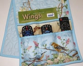 Quilted Armchair Caddy, Bedside Caddy, Goldfinch, Nuthatch, Flower Blossoms, Butterfly