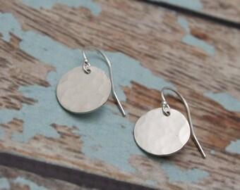 Sterling Silver Earrings - Hammered Disc Drop Earrings