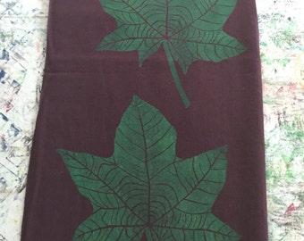Shawl, Brown, with Block Printed Green Kukui (Hawaiian Candlenut Tree) Leaves