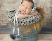 Gray Round Mini Blanket Newborn Photography Prop