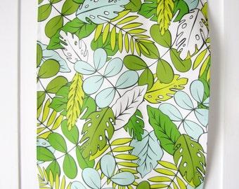 Tropical Tea Towel // Kitchen Towel // Modern Tropics Design // Green // Jungalow Style // Dish Towel // Housewares // Hand Illustrated