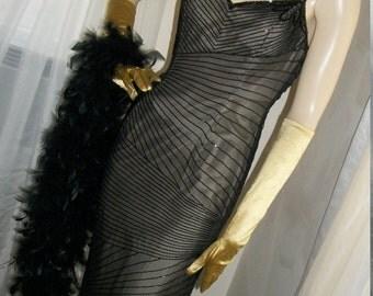 Vintage 1920s 1930s Style Sheer Silk Chiffon Beaded Gown Goth Art Deco Spiderweb Cobweb Unique Size S