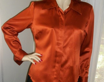Vintage 1970s Rust Satin Silk Blouse Size S/M Gorgeous Stunning Exec Cond Bloomingdales