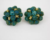 Vintage 50s Bead Earrings Turquoise Sugar Beads, Glass Beads Goldtone Metal w Clip on Backs Japan
