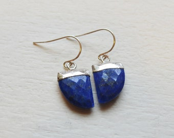 Modern Flat Gemstone Earrings, Sterling Silver and Lapis Lazuli
