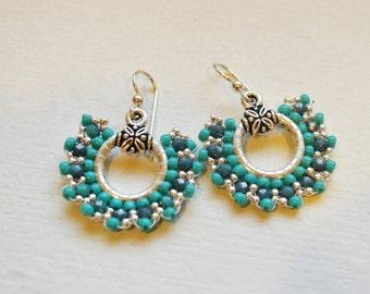 Handwoven Beaded Hoop Earrings - Turquoise