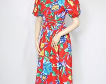 Vintage 1980's Dress Tropical Dress Cotton Dress Garden Party Dress Red Floral Dress Size 4