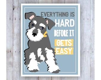 Childrens Wall Art, Classroom Decor, Miniature Schnuazer Puppy, Inspirational Dog Art Print for Kids, No One is Perfect, Classroom Wall Art