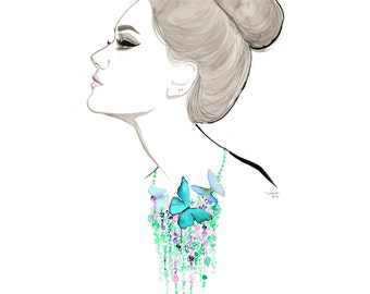 The Garden Around My Neck, print from original watercolor and pen fashion illustration by Jessica Durrant