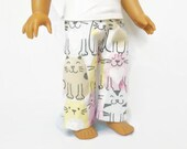 American Girl Doll Size Pajamas, 18 Inch Doll Pajamas, Doll Clothes, Cat Pajamas